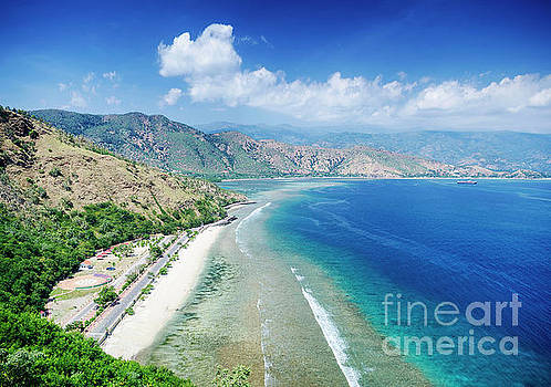 Cristo Rei Landmark Beach Landscape View Near Dili East Timor by Jacek Malipan