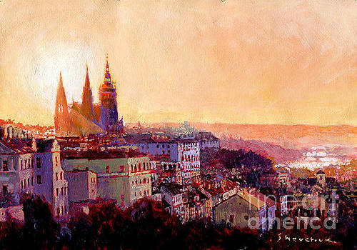 Sundown over Prague by Yuriy Shevchuk
