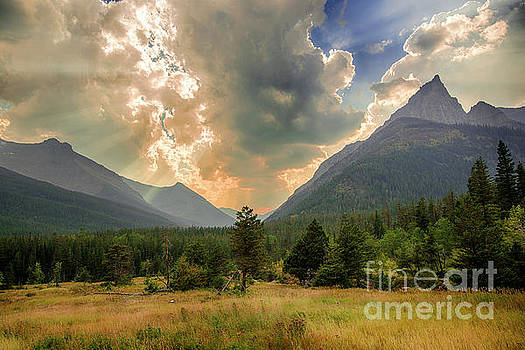 Dramatic Sky Over Red Rock Canyon - Waterton Lakes National Park by Yefim Bam