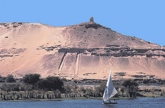 Falucca on the Nile at Aswan in Egypt by Carl Purcell