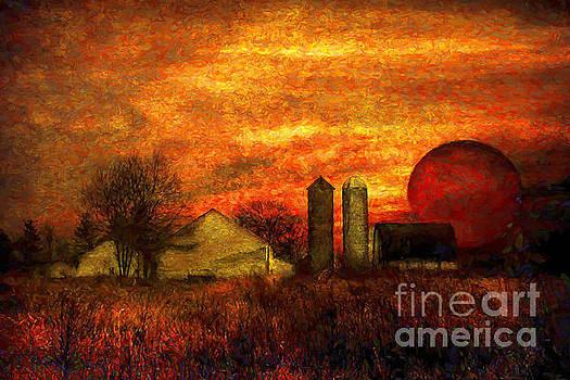 Farm Landscape at Sunset by Feryal Faye Berber