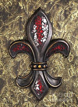 red mosaic Fleur-di-lis by Tony Cordoza