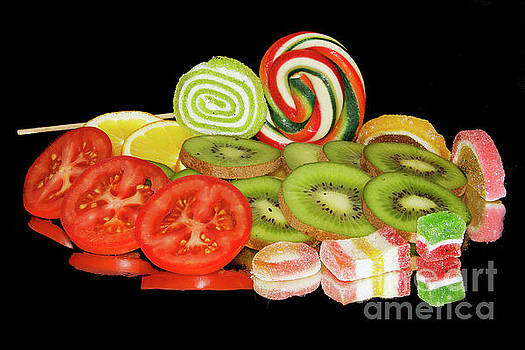 Fruits,vegetables With Candys by Elvira Ladocki