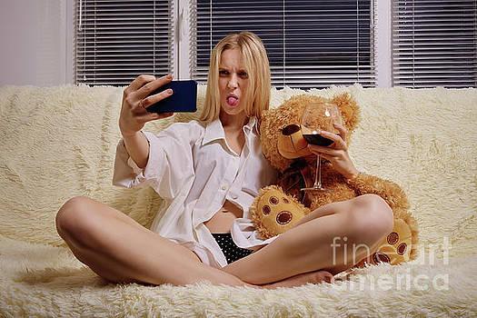Girl Taking Selfie by Aleksey Tugolukov