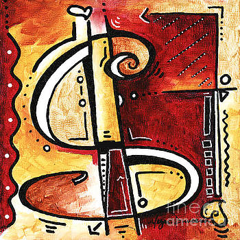 Golden is a fun funky Mini PoP Art Style Original Money Painting by Megan Duncanson by Megan Duncanson