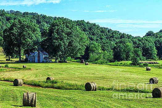 Hay Bales and Farm House by Thomas R Fletcher