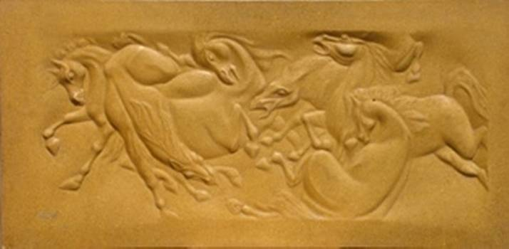 Horses Fight by Wall sculpture artist Ahmed Shalaby