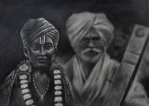 Indian warkari by Artist Vivekananad Patil