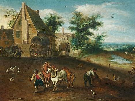 Landscape with Peasants Working the Land by MotionAge Designs