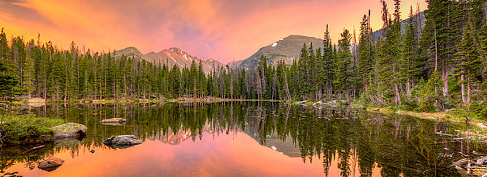 Long's Peak from Nymph Lake at Sunset by Fred J Lord