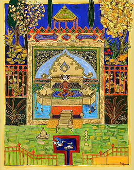 Meditating Master in Courtyard with Ducks by Maggis Art