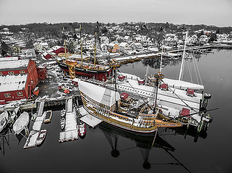 Mystic Seaport in Winter by Petr Hejl