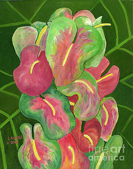 Obake Anthuriums by Linda Wolf
