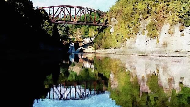 Old Railway Bridge Over The Winooski River by Joseph Hendrix
