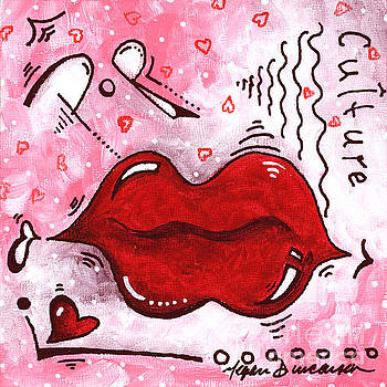 Original Mini PoP Art Lips Kiss Pop Culture Painting Kissable by Megan Duncanson by Megan Duncanson