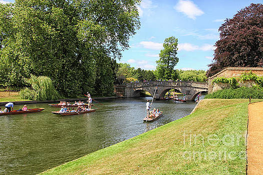 Punter boats on the Cam river in Cambridge by Patricia Hofmeester