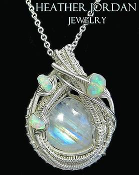 Rainbow Moonstone and Sterling Silver Wire-Wrapped Pendant with Ethiopian Welo Opals - MNSTPSS13 by Heather Jordan