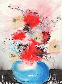 Suzanne  Marie Leclair - Red Flowers Blue Vase