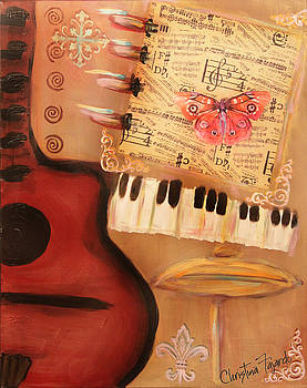 Red Guitar and Red Butterfly by Christina Fajardo