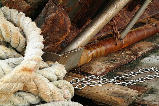 Rust And Rope On Boat by Renee McDaniel