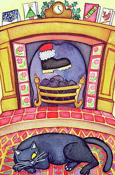 Cathy Baxter - Santa Arriving Down the Chimney