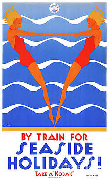 Seaside Australia Vintage Travel Poster Restored by Carsten Reisinger