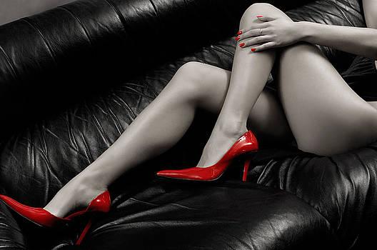 Sexy Long Legs in Red High Heels by Oleksiy Maksymenko