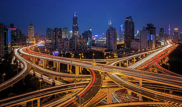 Shanghai Elevated Road Junction by Anek Suwannaphoom