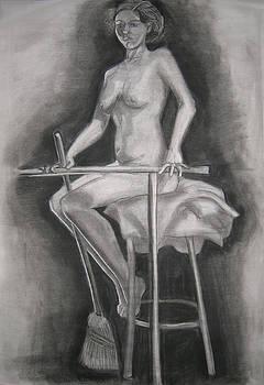 Sitting Female Nude Study by Candace Barnett