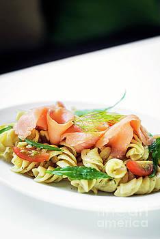 Smoked Salmon Organic Tomato And Basil Fresh Pasta Salad by Jacek Malipan