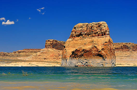 Solitary rock in the middle of Lake Powell by Jay Mudaliar