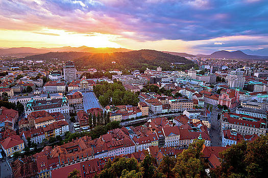 Sunset above Ljubljana aerial view by Dalibor Brlek