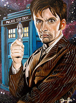 The Tenth Doctor and his TARDIS by Emily Jones