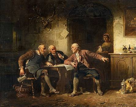 Three Men at a Table by Anton Seitz