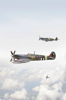 Three Supermarine Spitfire Airplanes In Flight by Lee Avison