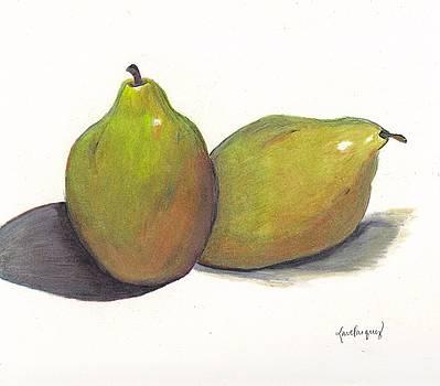 Two green pears by Lea Velasquez