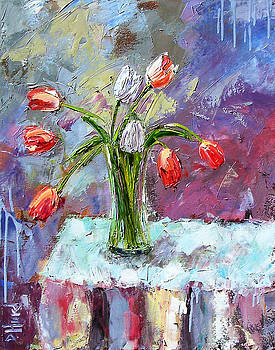 Two White Tulips by Debra Hurd