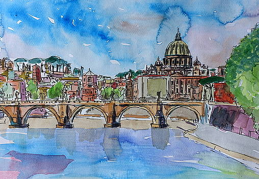 Vatican Rome Italy Sunset On River Tiber With St Peter II by M Bleichner