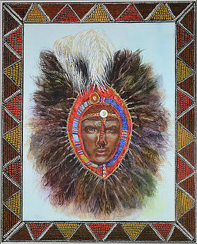 Warrior in Beaded Ostrich Headdress by Carol J  South