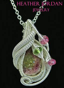 Watermelon Tourmaline and Sterling Silver Wire-Wrapped Pendant with Peridot and Rubellite Tourmaline by Heather Jordan