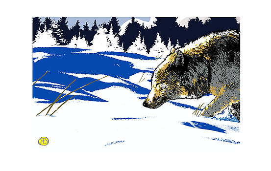 Wolf in the snow by Robert Breton