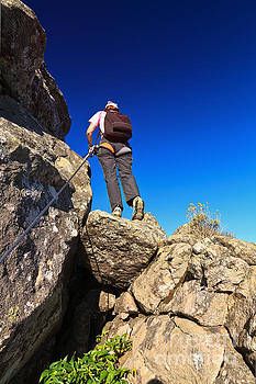 Woman On Via Ferrata by Antonio Scarpi
