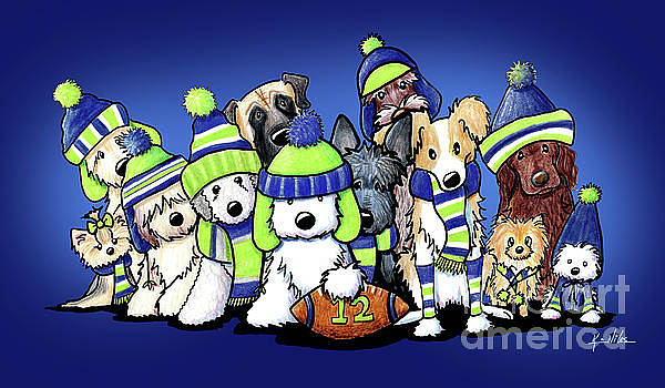 12 Dogs On Blue by Kim Niles