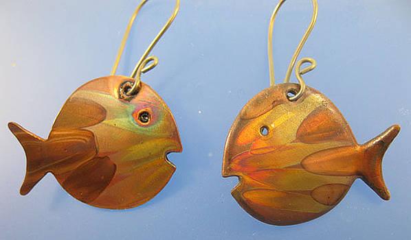 1251 Stylized Fish Earrings by Dianne Brooks
