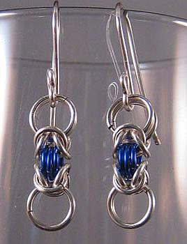 1423 Silver Blue Byz Earrings by Dianne Brooks