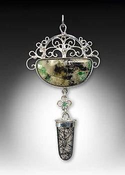 Crabtree emerald matrix pendant by Jeanne  Rhodes-Moen