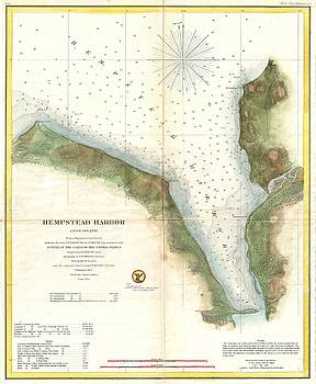 1859 U.S. Coast Survey Chart or Map of Hempstead Harbor, Long Island, New York  by Paul Fearn