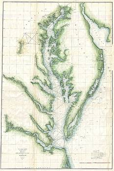 1859 U.S. Coast Survey Chart or Map of the Chesapeake Bay by Paul Fearn