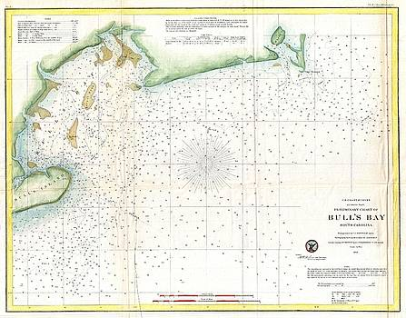 1859 U.S. Coast Survey Map of Bull's Bay South Carolina by Paul Fearn
