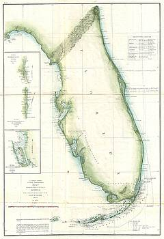 1859 U.S. Coast Survey Map of Florida by Paul Fearn